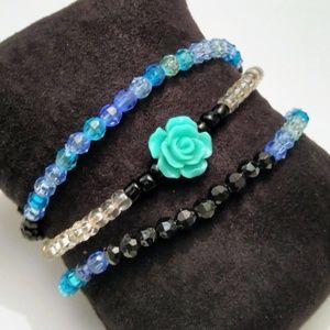 🔥2/$10🔥Blue Rose Stretch Bracelets Bundle